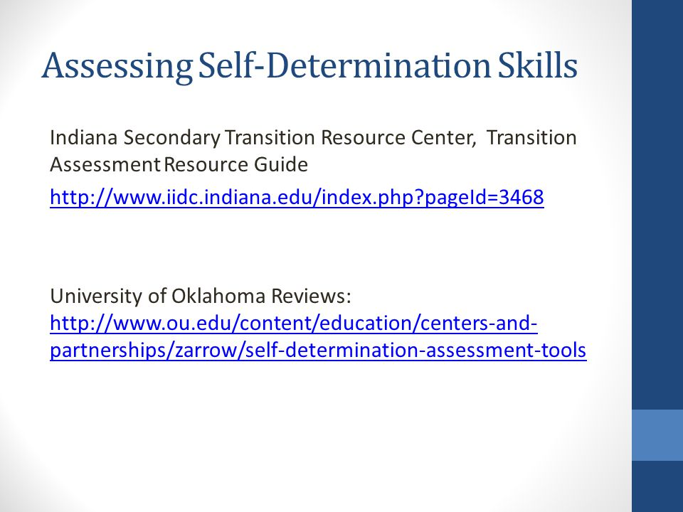 Assessing Self-Determination Skills