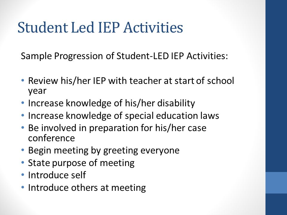 Student Led IEP Activities