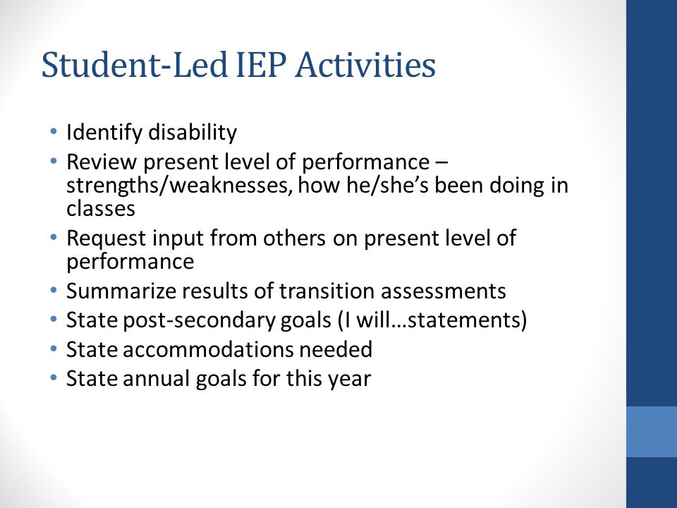 Student-Led IEP Activities