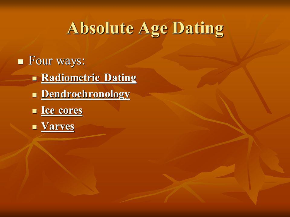 Absolute Age Dating Four ways: Radiometric Dating Dendrochronology