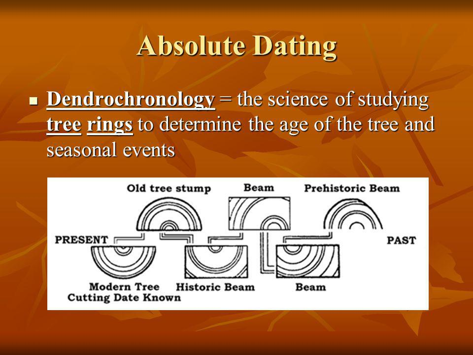Absolute Dating Dendrochronology = the science of studying tree rings to determine the age of the tree and seasonal events.