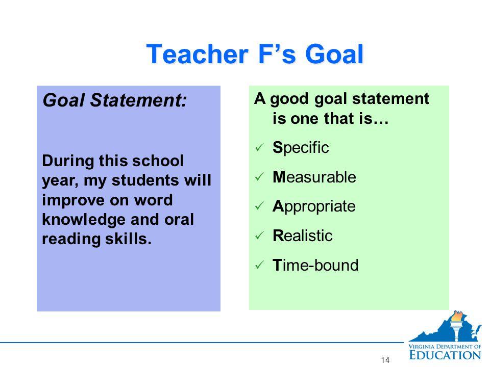 Better Goal for Teacher F