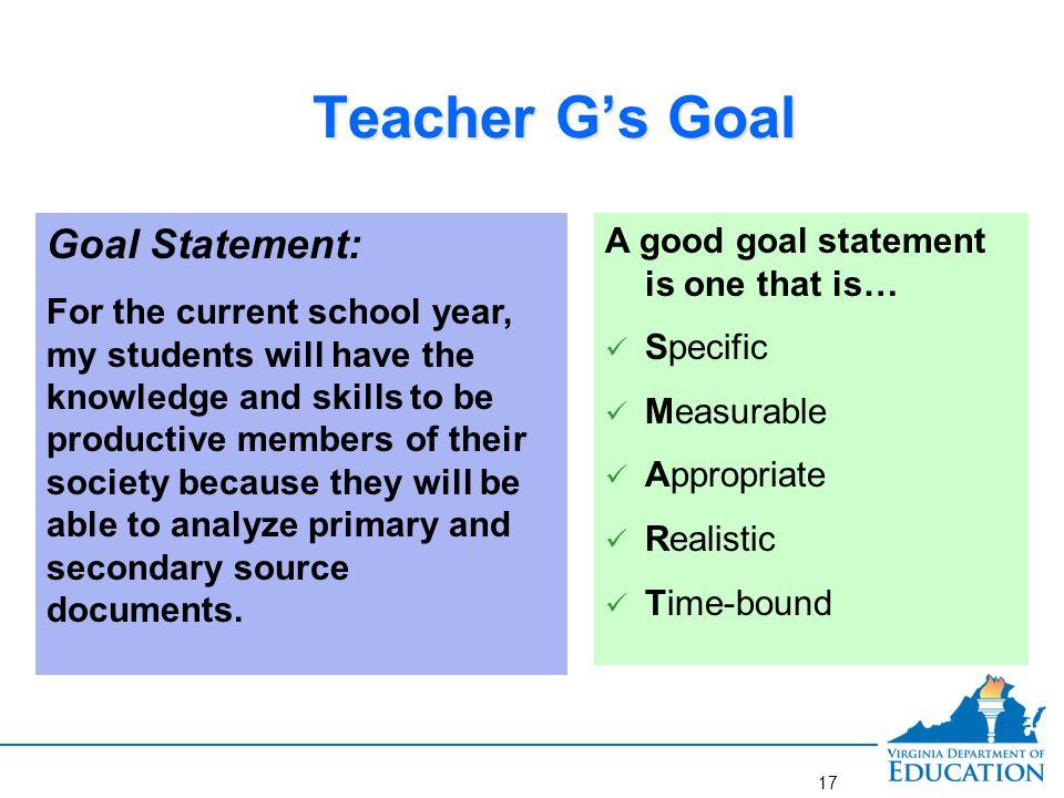 Better goal for Teacher G