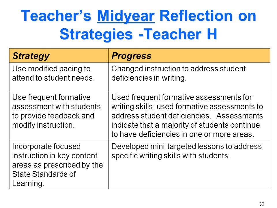 Teacher's Midyear Reflection Continued - Teacher H