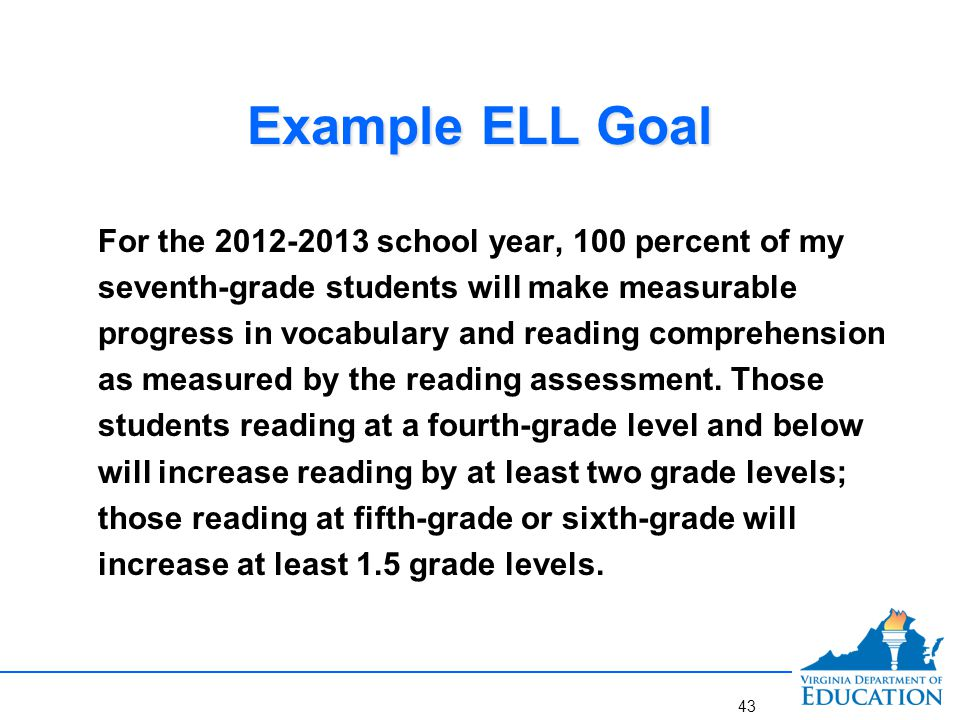 Example ELL Goal