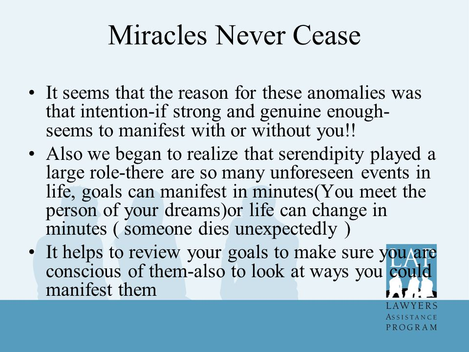 Miracles Never Cease