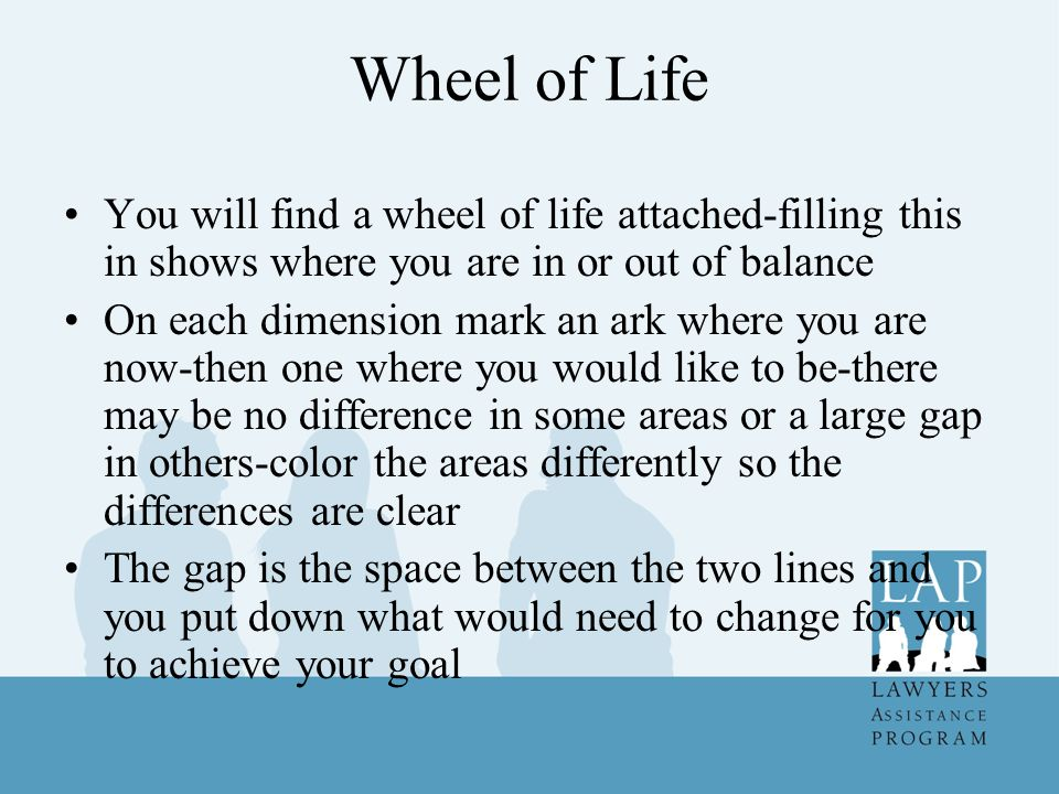 Wheel of Life You will find a wheel of life attached-filling this in shows where you are in or out of balance.
