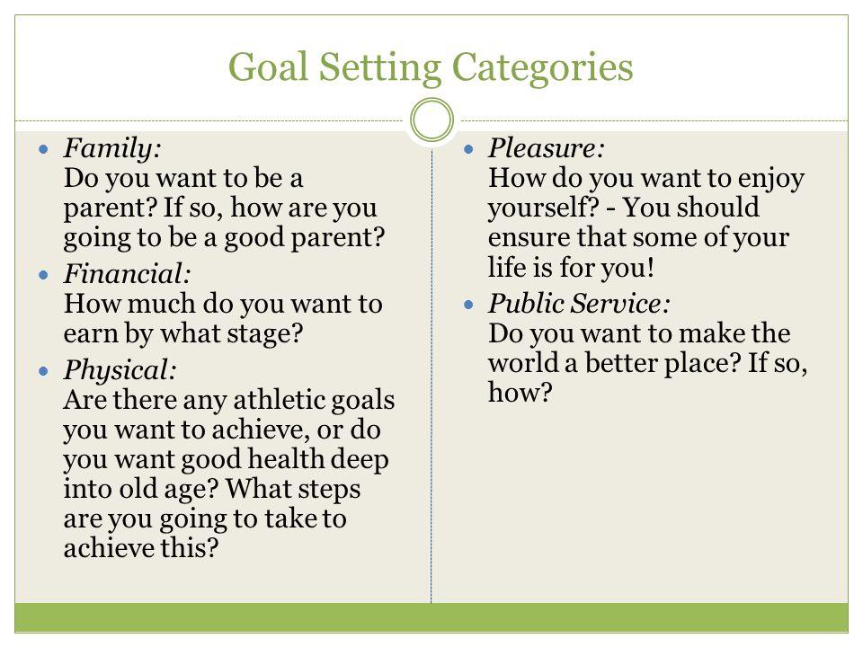 Goal Setting Categories