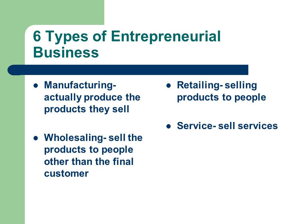 6 Types of Entrepreneurial Business