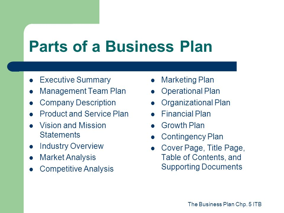 Parts To A Business Plan