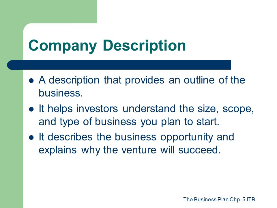The Business Plan Chp. 5 ITB