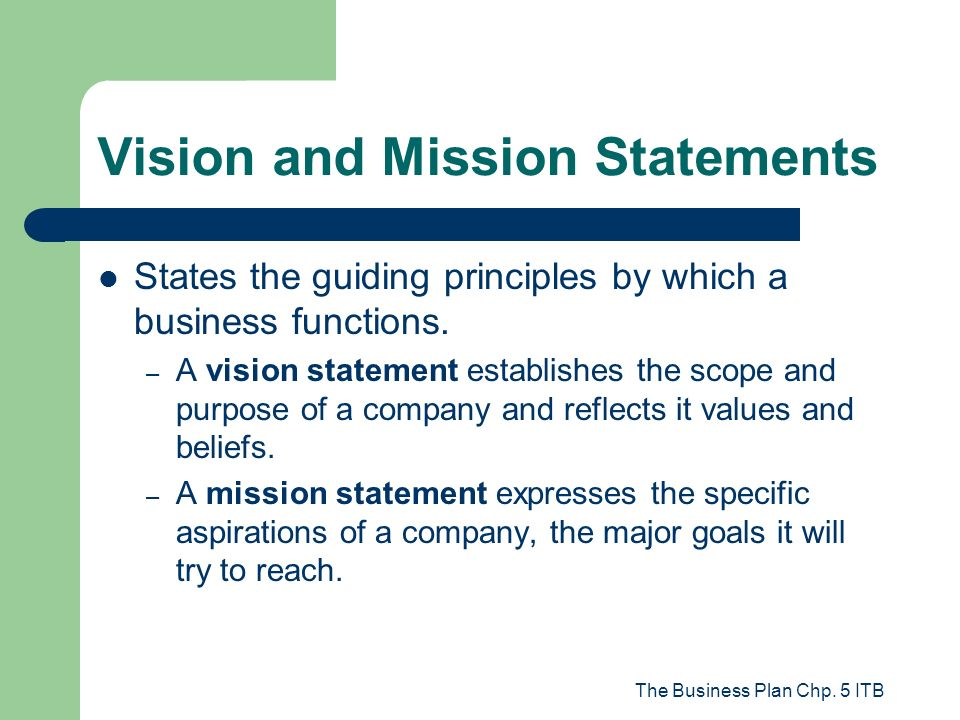 Business plan mission statement a business plan is a for Vision statement template free