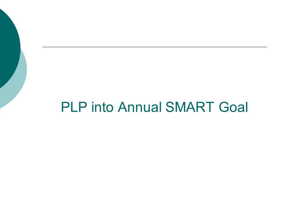 PLP into Annual SMART Goal