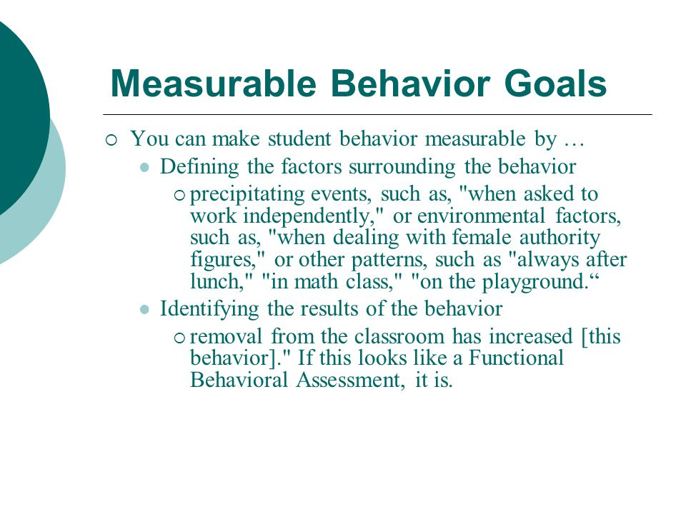 Measurable Behavior Goals