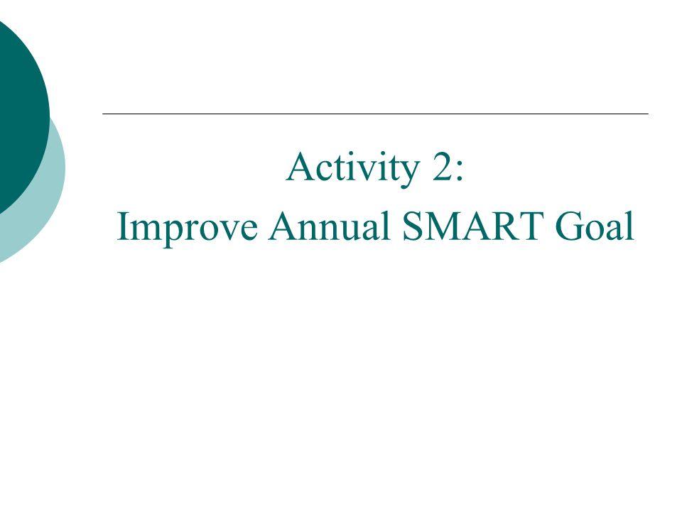 Improve Annual SMART Goal
