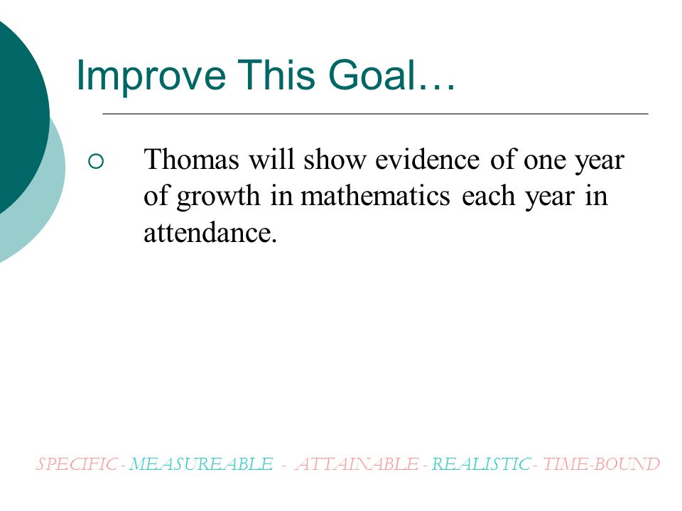 Improve This Goal… Thomas will show evidence of one year of growth in mathematics each year in attendance.