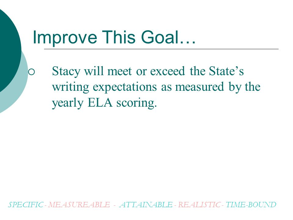 Improve This Goal… Stacy will meet or exceed the State's writing expectations as measured by the yearly ELA scoring.