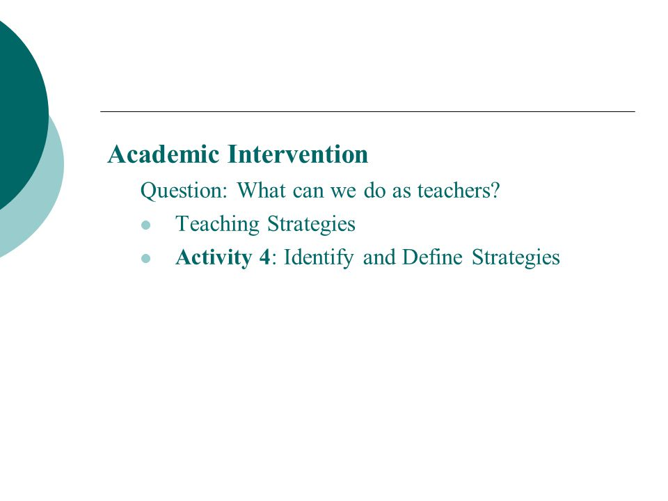Academic Intervention