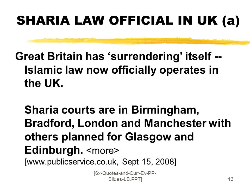 SHARIA LAW OFFICIAL IN UK (a)