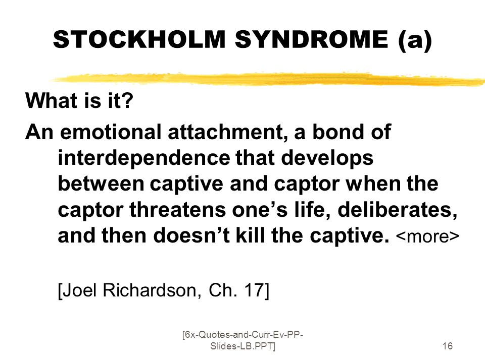 STOCKHOLM SYNDROME (a)