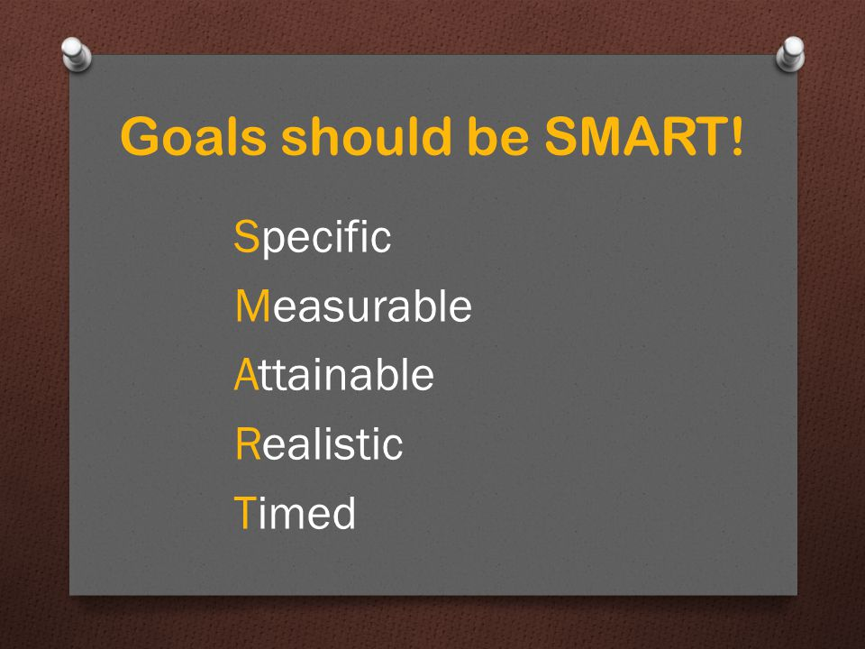 Goals should be SMART! Specific Measurable Attainable Realistic Timed