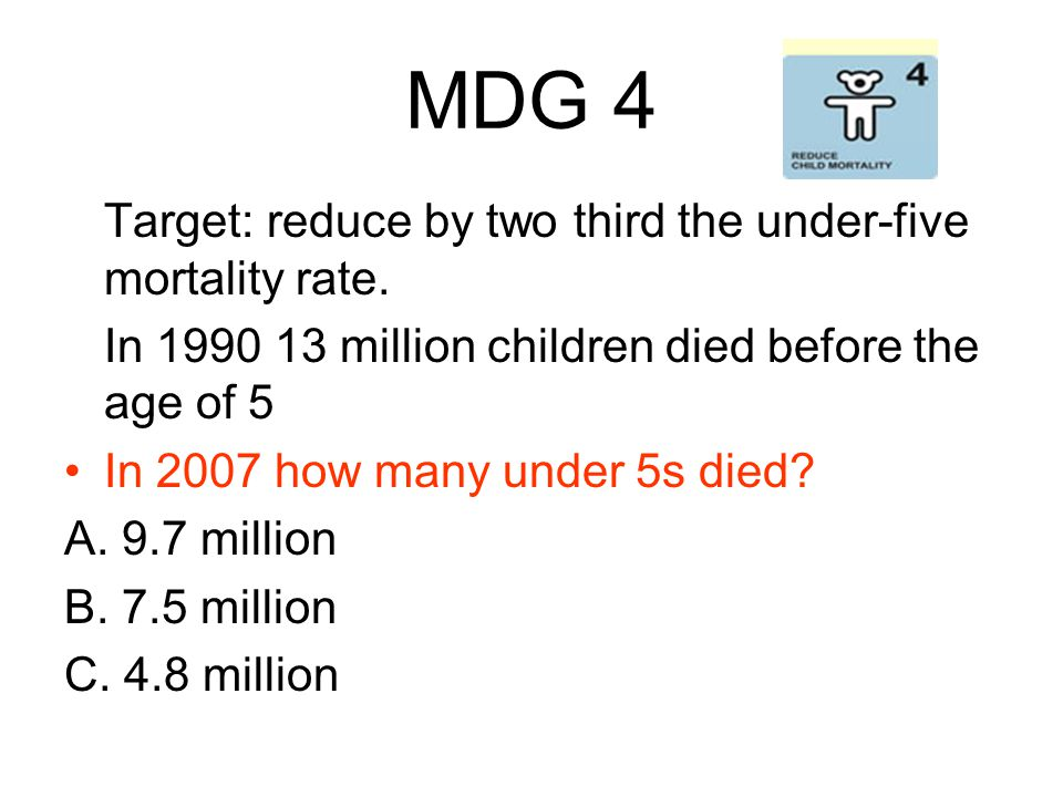MDG 4 Target: reduce by two third the under-five mortality rate.