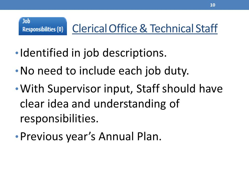 Clerical Office & Technical Staff