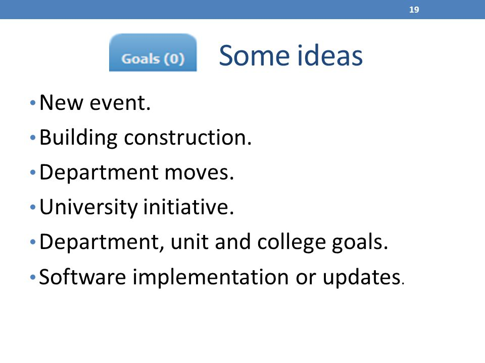Some ideas New event. Building construction. Department moves.