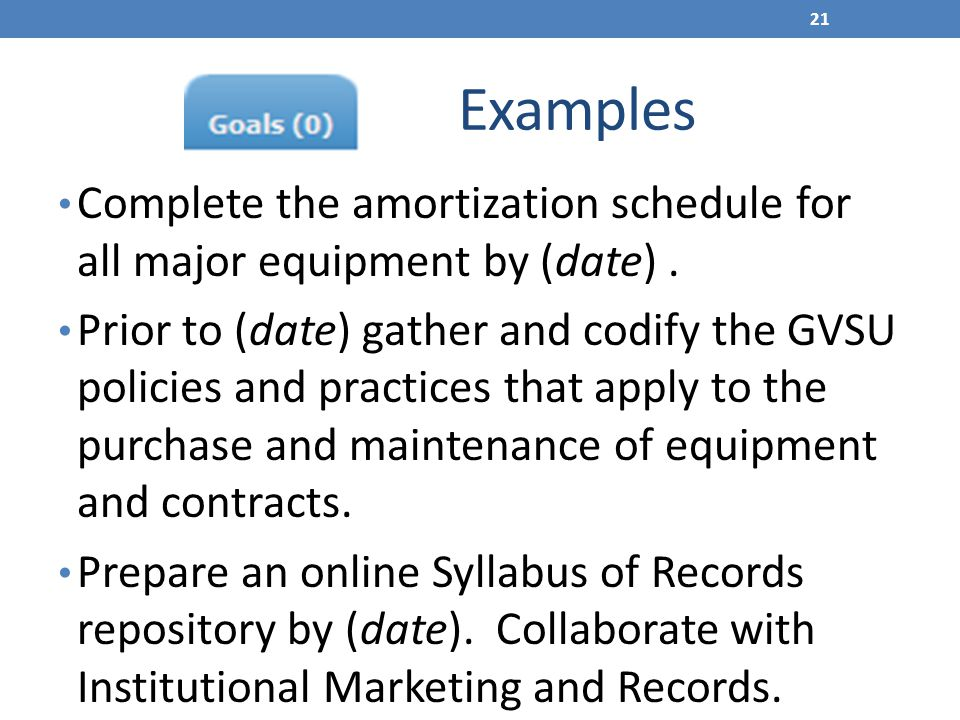 Examples Complete the amortization schedule for all major equipment by (date) .