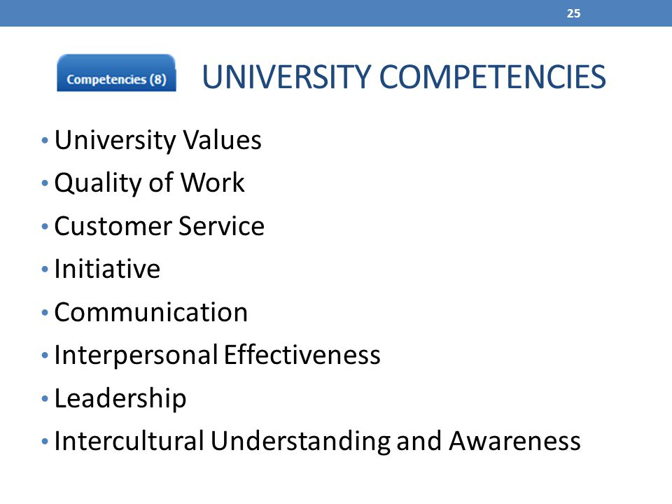 ` UNIVERSITY COMPETENCIES