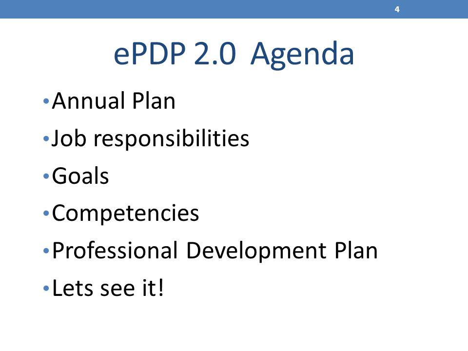 ePDP 2.0 Agenda Annual Plan Job responsibilities Goals Competencies