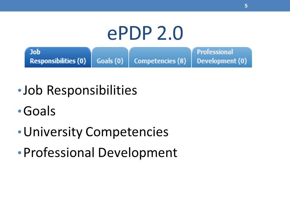 ePDP 2.0 Job Responsibilities Goals University Competencies