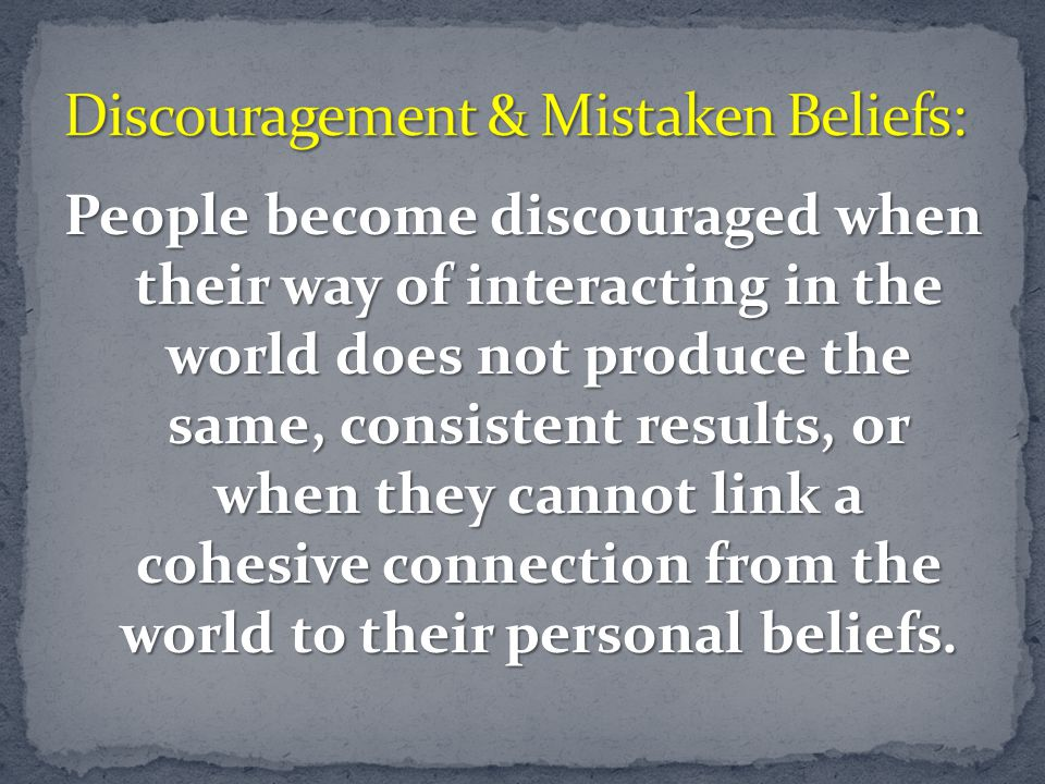 Discouragement & Mistaken Beliefs: