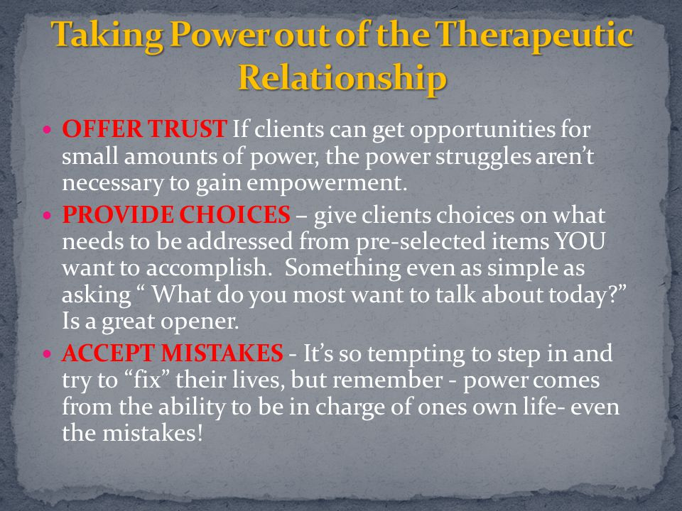 Taking Power out of the Therapeutic Relationship