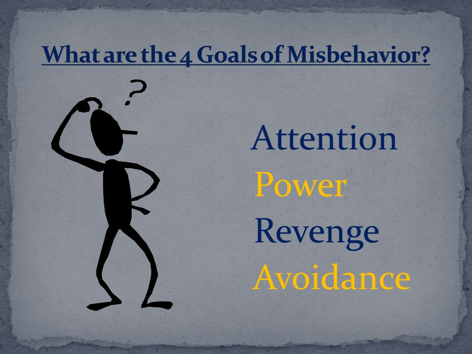 What are the 4 Goals of Misbehavior