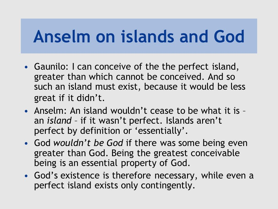Anselm on islands and God