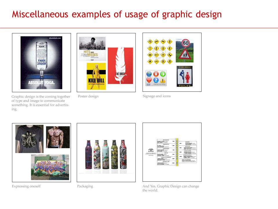 Miscellaneous examples of usage of graphic design