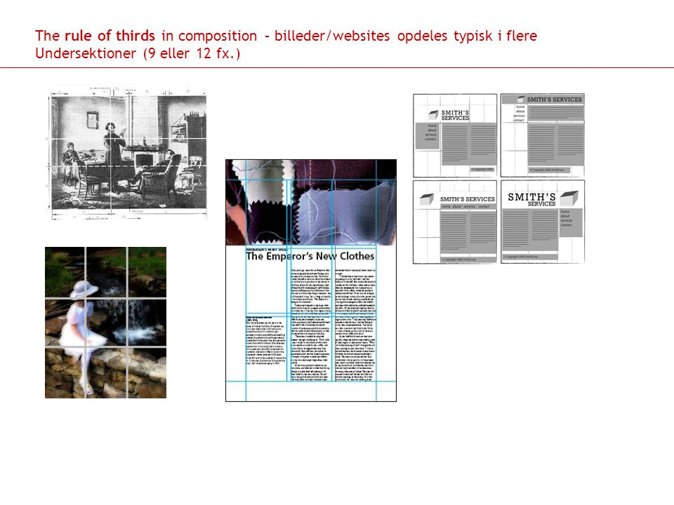 The rule of thirds in composition – billeder/websites opdeles typisk i flere