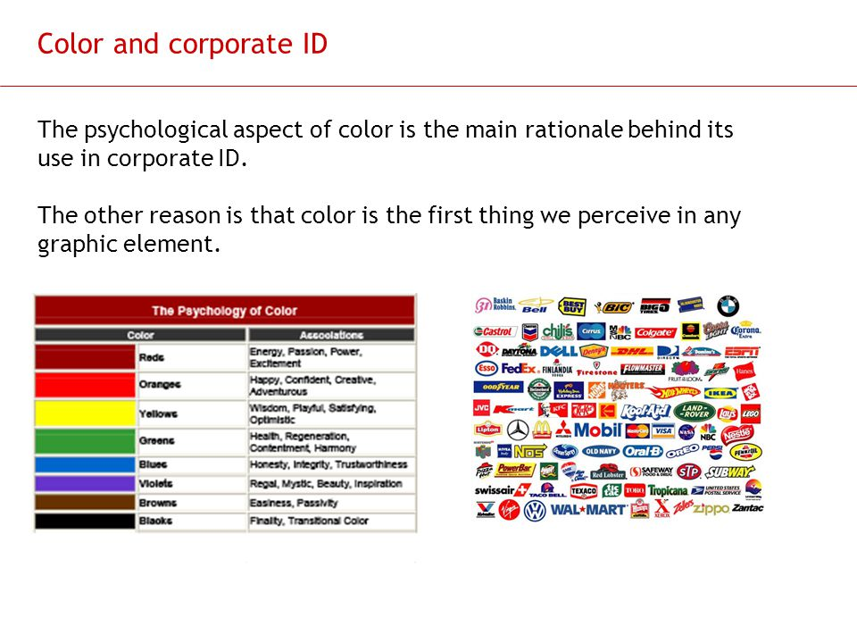 Color and corporate ID The psychological aspect of color is the main rationale behind its use in corporate ID.