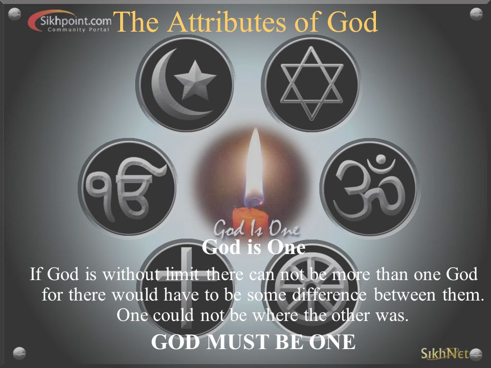 The Attributes of God God is One GOD MUST BE ONE
