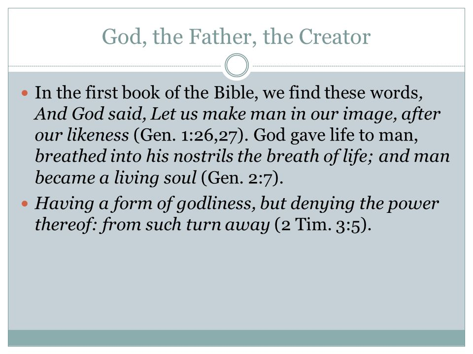God, the Father, the Creator
