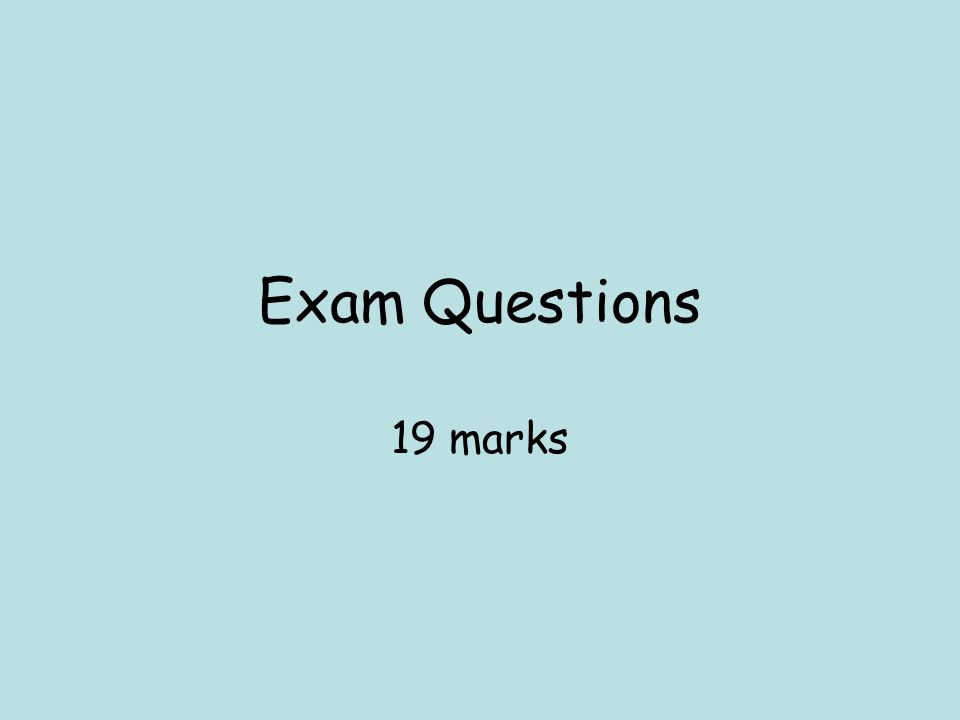 Exam Questions 19 marks
