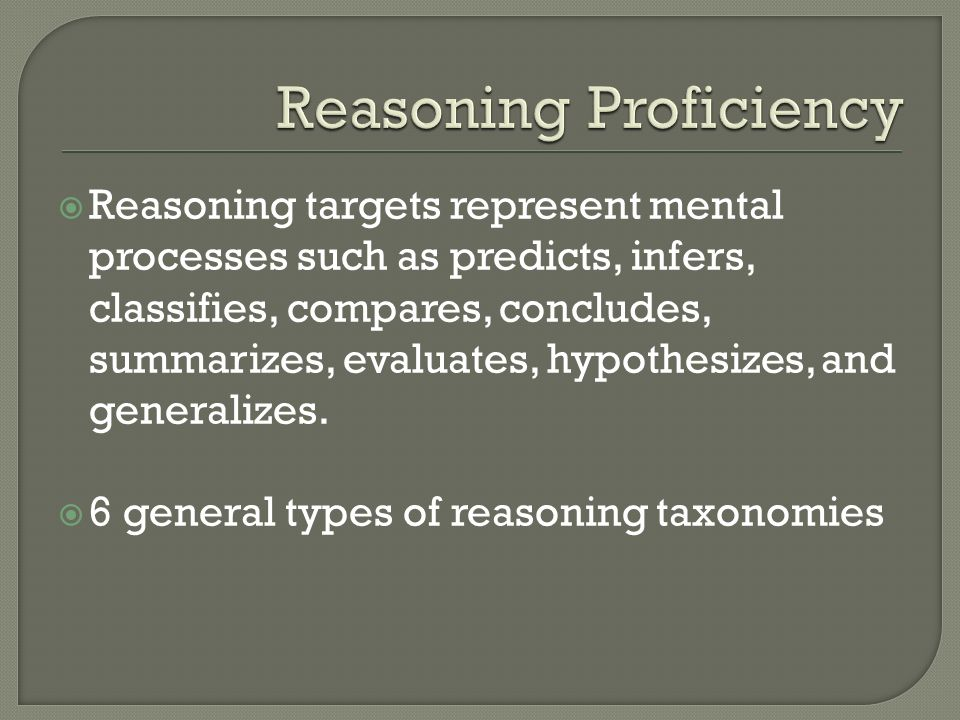 Reasoning Proficiency