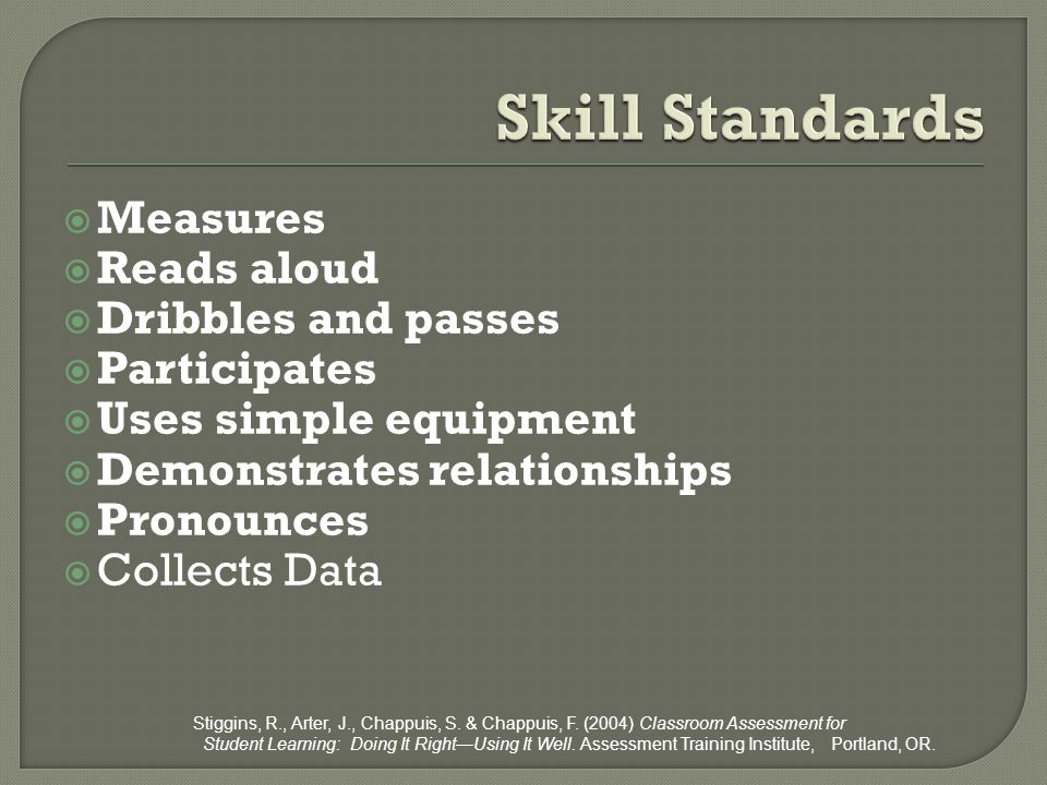 Skill Standards Measures Reads aloud Dribbles and passes Participates