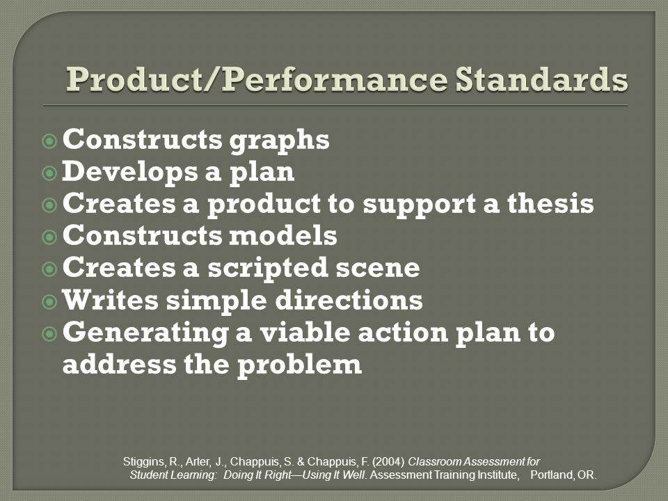 Product/Performance Standards