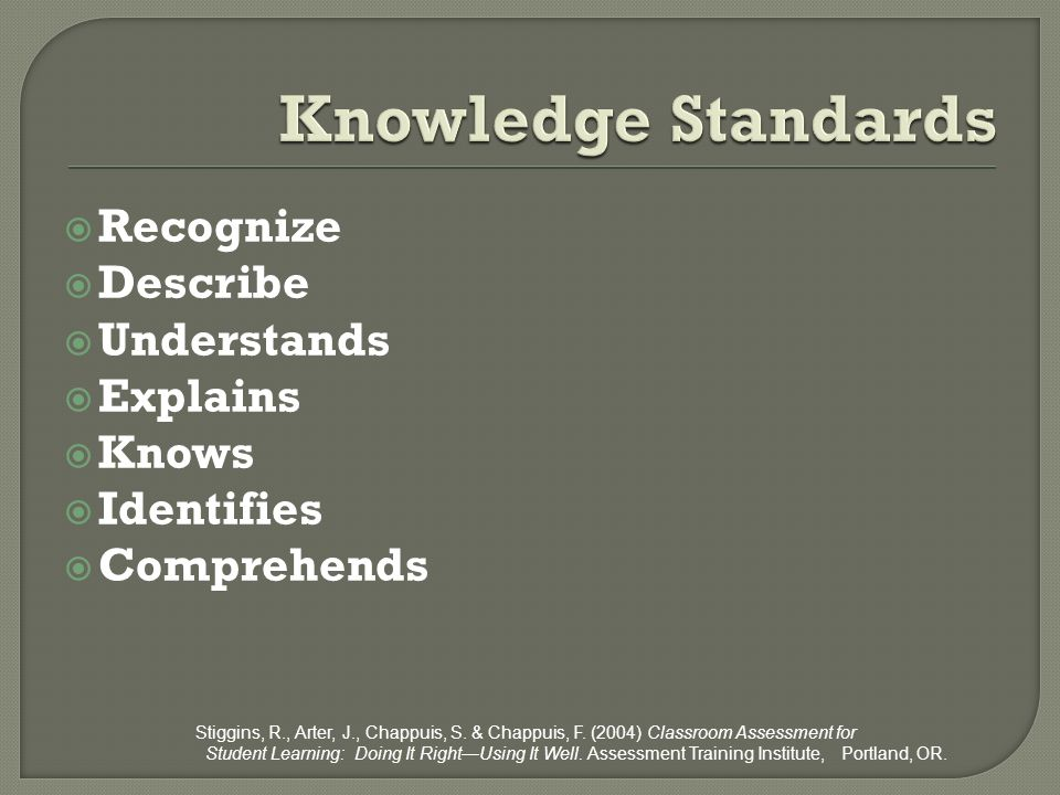 Knowledge Standards Recognize Describe Understands Explains Knows