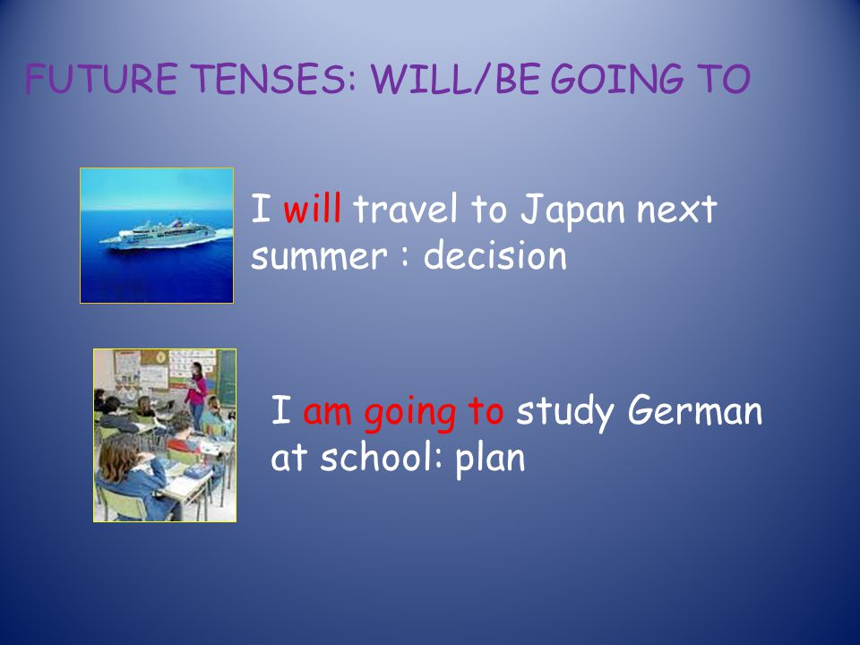 FUTURE TENSES: WILL/BE GOING TO