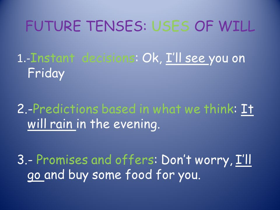 FUTURE TENSES: USES OF WILL