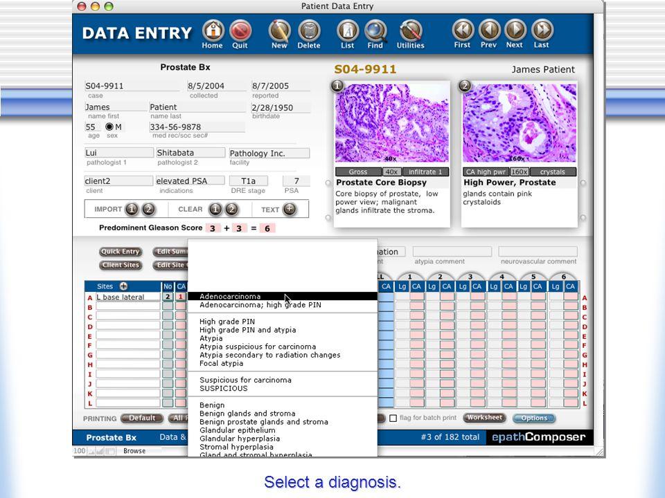 Select a diagnosis.
