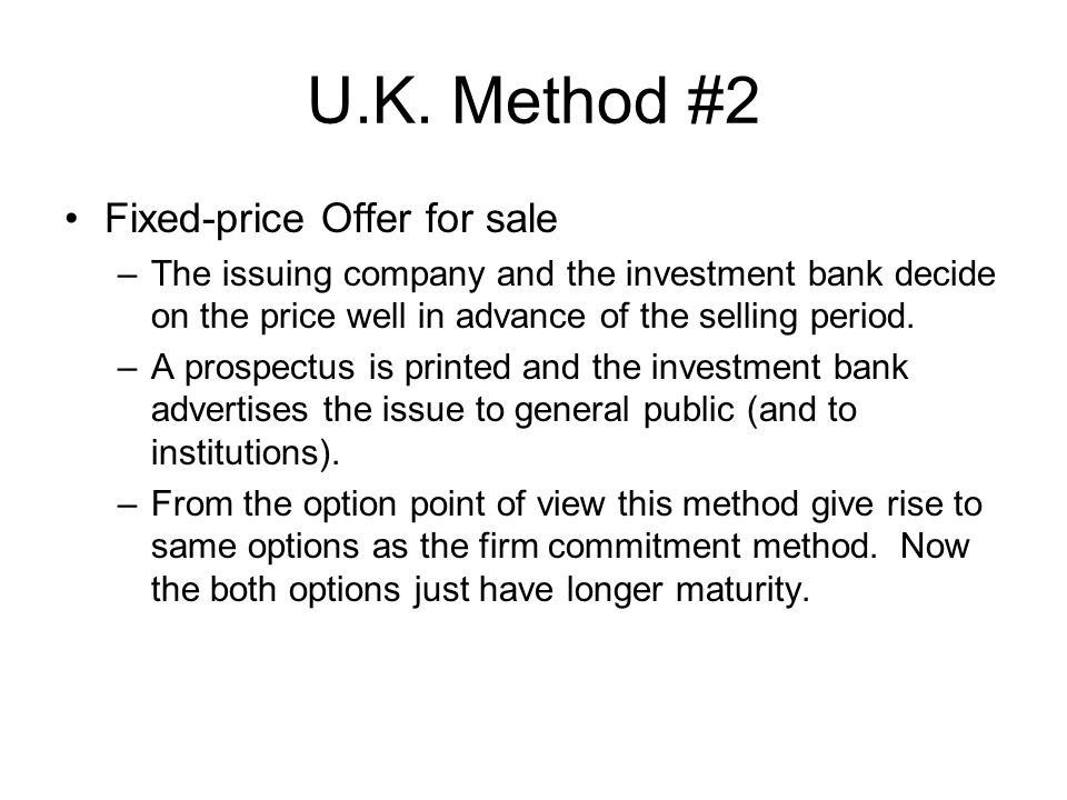 U.K. Method #2 Fixed-price Offer for sale